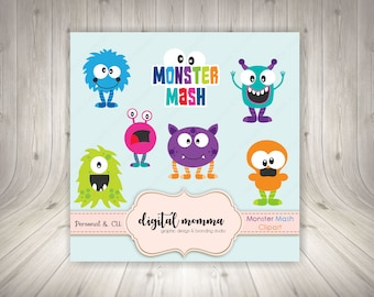 50% OFF SALE! Monster Clipart, .PNG Personal & Commercial use, Instant Download!