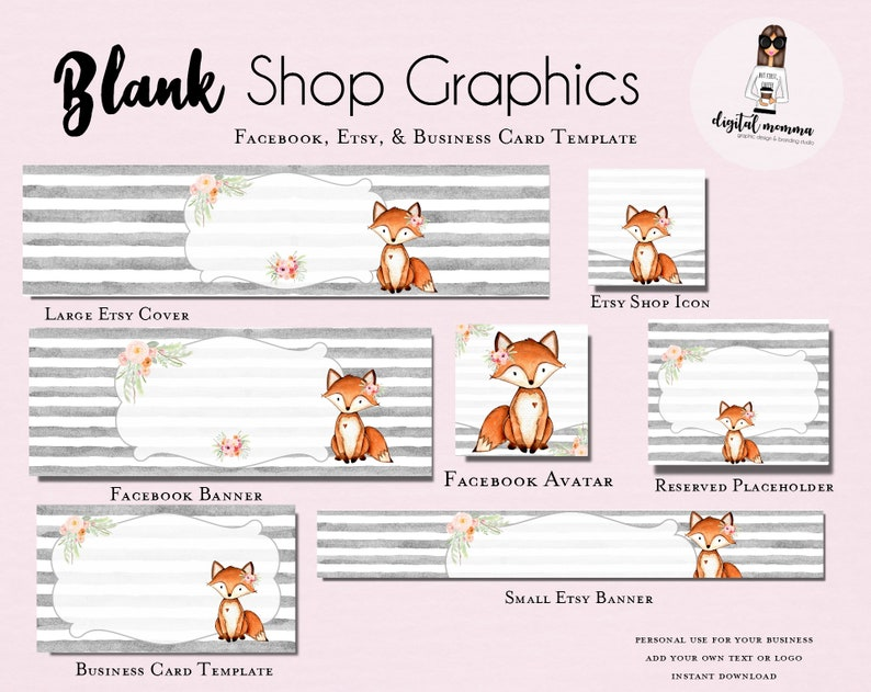 2013377775274 Blank/DIY Floral Fox Shop Graphics, Blank Floral Fox Facebook & Etsy Set,  Fox Etsy Cover, Instant Download!