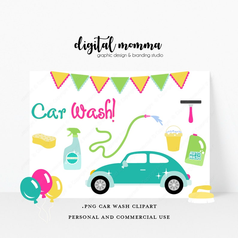 Car Wash Clipart Set Png Graphics Car Clipart Instant Etsy