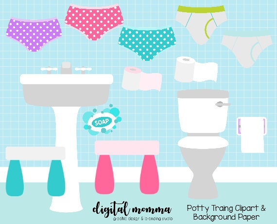 Potty Training Clipart Set Bathroom Clipart Background Paper Etsy Amazing Bathroom Clipart Set