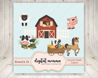 50% OFF SALE! Farm, Country Life, Farm Animals Clipart Set, .PNG, Personal & Commercial Use, Instant Download!