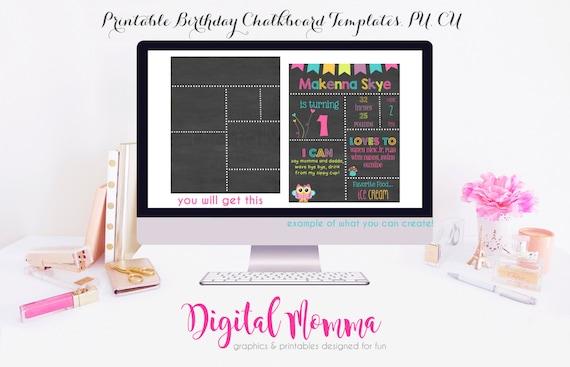 Printable, DIY, Blank Birthday Chalkboard Template, High Resolution ...