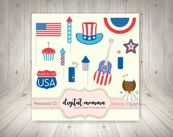 50% OFF SALE! Patriotic Clipart, 4th Of July, Independence Day Clipart Set, PNG, Instant Download!