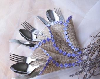 Lavander Wedding, Burlap Silverware Holder, Purple Wedding, Wedding Table Plan, Rustic Wedding Decor, Lavender Cutlery Holder, Det of 50