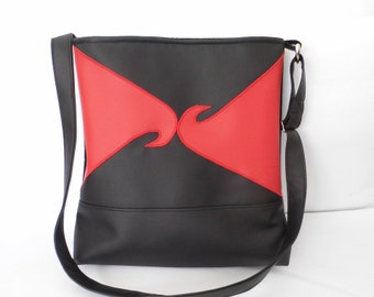 Red and black faux leather purse, tote bag, shoulder purse, gift for her, mother's day idea