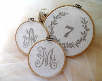 Wedding Table Numbers And Favours, Gift For Guests, Hoop Emboidery Set, Handmade Wedding Favours, Set Of 50 Favours And 10 Table Numbers