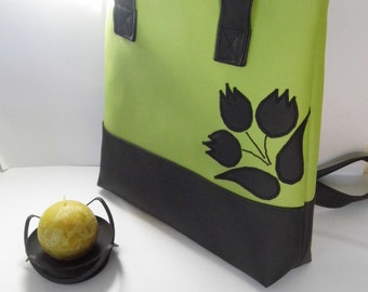 Vegan Tote, Mother's Day Gift, Shoulder Bag, Cross Body Bag, Gift For Women, Faux Leather Handbag, Spring Bags, Flower Pattern Tote