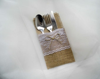 Wedding Silverware Holder, Burlap and Lace, Wedding Table, Rustic Decoration, Lace Decor, Wedding Reception, Country Wedding, Set of 10