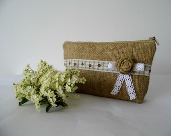 Burlap Clutch, Burlap And Lace Pouch, Cottage Chic Cosmetic Bag, Rustic Make Up Bag, Gift For Her, Cosmetic Bag, Gift Idea, Gift For Women,