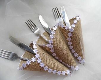 Silverware Holder, Burlap Cutlery Holder, Rustic Wedding, Barn Wedding, Wedding Silverware Holder, Wedding Table Decoration, Set of 50 SALE!