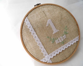 Wedding Table Number, Hoop Embroidery, Hand Embroidered, Rustic Table Number, Wedding Table Plan, Embroidered Numbers, Burlap And Lace