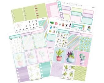 Planner Sticker Kits / Cactus Planner Stickers / Planner Stickers / Erin Condren Planner Stickers / Purple / Weekly Sticker Kit / WK82