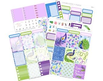 Planner Sticker Kits / Peacock Planner Stickers / Planner Stickers / Erin Condren Planner Stickers / Purple / Weekly Sticker Kit / WK81