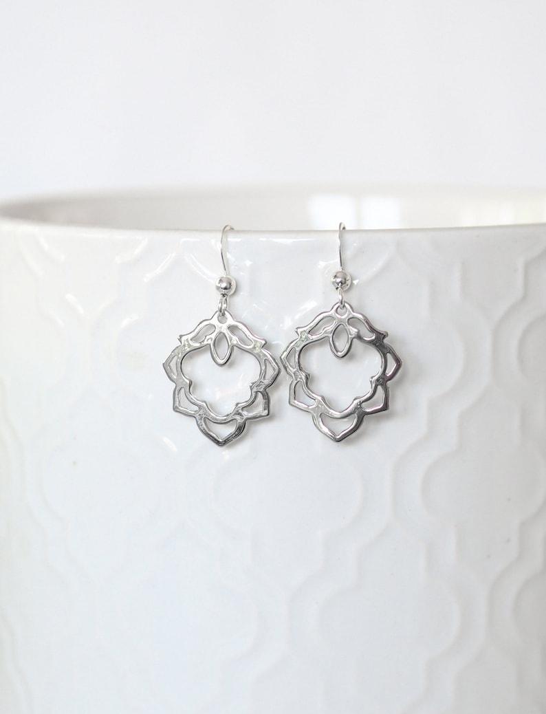 Oriental Earrings Jewelry Gift Rhodium Plated Charms Oriental Dangle Earrings Gift for Her Silver Earrings Morroccan Diamond