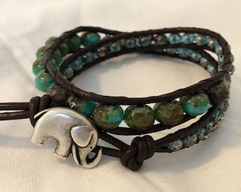 Leather beaded wrap bracelet turquoise green handmade