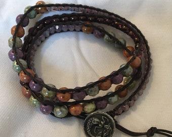 Leather beaded wrap bracelet triple wrap