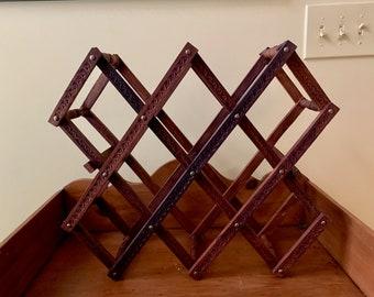 Accordion Wine Rack, Expandable Teak and Brass Wine Holder, 8 Bottle Wine Rack, Mid Century Wooden Wine Bottle Rack Barware, Wedding Gift