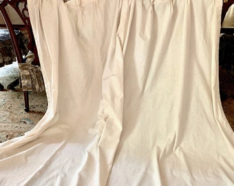 Pair of Linen Pleated Drapes, Vintage Handmade Ivory Ecru Colored Drapes for Single Window, Cottage Farmhouse Decor