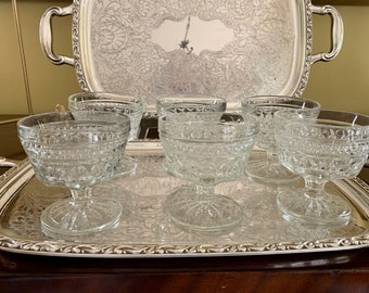 Wexford Sherbets Set of 6, Anchor Hocking Wexford Clear Tall Champagnes, Cottage Farmhouse Dining, Holiday Dining
