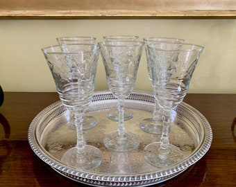 Rock Sharpe Crystal Normandy Pattern, Set of 6 Water Wine Goblets, Cut Floral Arch, Cut Star of David Design on Base, Wedding Bridal Gift