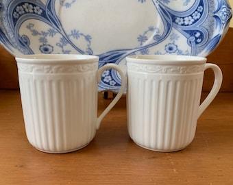 Mikasa Italian Countryside Mug, Cottage Farmhouse Kitchen Decor, Classic Ribbed Style Mug, 2 Available Each Sold Separately