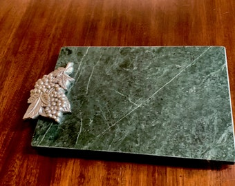 Green Marble Cheese Board, Aluminum Metal Grape Leaves Trim, Vintage Cheese Cutting Board Tray, Wedding Bridal House Warming Gift