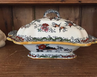English Chinoiserie Covered Vegetable Tureen,  Ashworth Hanley Polychrome Colored Willow Transferware, Chinoiserie Willow, Circa 1800's