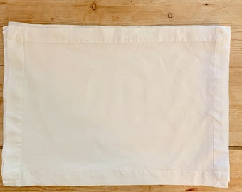 Linen Placemats, Ivory Ecru Hemstitched Placemats Set of 6, Casual Cottage Farmhouse Table Linens, 14 x 20 Inches