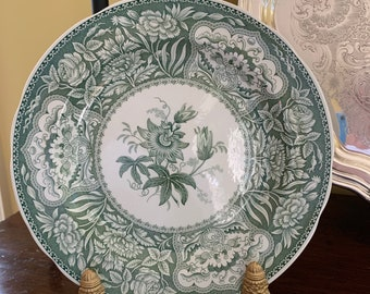 Spode Green Transferware Plate, Spode Archive Collection Floral Georgian Series, English Spode Dinner Plate, English Country Cottage