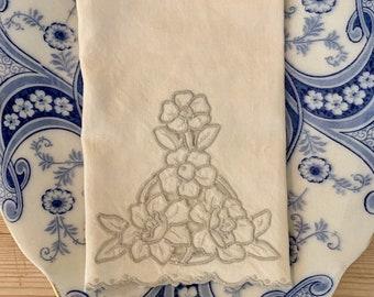 Ecru Linen Tea Towel with Cutwork, Taupe on Cream Linen, Scalloped Hem,