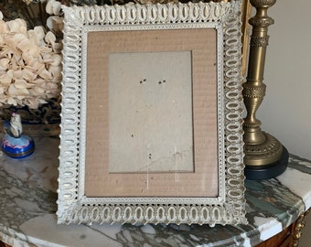 Vintage White Gold Metal Photo Frame, 8 x 10 Picture Frame, Vertical Mid Century Photo Frame, Shabby Cottage Decor, Pierced Design