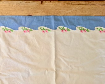Embroidered Blue White Flat Sheet, Vintage Full Size Sheet, Embroidered Floral Border, Cottage Chic Farmhouse Blue White Bedding
