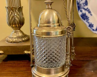 Brass Glass Pickle Jar with Tongs, Vintage Victorian Style Castor , Hobnail Glass, Holiday Dining