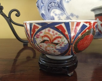 Small Imari Bowl with Stand, Vintage Imari Porcelain Bowl, Cobalt Blue Cinnabar Red, Asian Imari Decor Gift Idea
