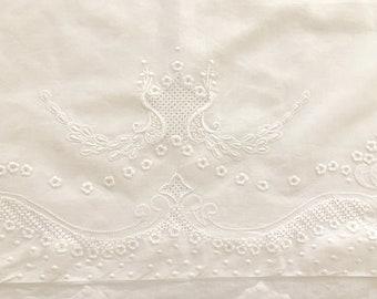 Embroidered Pillow Sham King Size, White on White Embroidery, Inset Drawnwork Design, Applique' Border, King Size White Bedding,