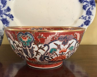 Imari Bowl with Gold Rim, Large Asian Porcelain Glazed Bowl Cinnabar Red, Blue White, Imari Gift Idea, Chinoiserie Asian Decor