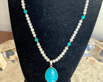 Pearl Turquoise Necklace, Sterling Clasp, Vintage Turquoise Pendant, Southwestern Jewelry, Gift for Her, Stocking Stuffer
