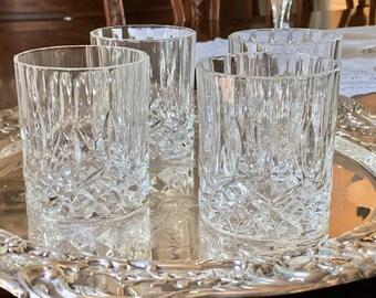 Crystal Old Fashion Glasses, Set of 4 Lead Crystal Manhattan Glasses, Vintage Lowball Cocktail Glasses, Barware Gift, Wedding Gift