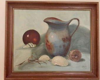 Vintage Still Life Painting, Mid Century 16 x 20 Oil on Canvas Signed and Dated 1963,  Signed Le' Nard Hanes, Blue Brown Tones