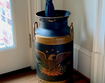 Vintage Milk Can, Fairmont Foods Americana Painted Milk Can Umbrella Stand with Eagle Emblem, Patriotic Colonial Decor, Rustic Farmhouse