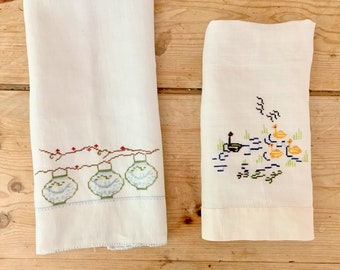 Two Linen Tea Towels, Petit Point Japanese Lanterns Blue White, Petit Point Ducks Guest Hand Towel, Asiatic Chinoiserie Decor