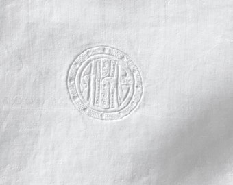 White Damask Monogrammed Tea Towel, Linen Guest Hand Towel, Elegant Wreath Design in Center,  French Country Cottage Chic, 10 Available
