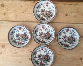 Chinoiserie English  Rim Soup Bowls, Ashworth Hanley Soup Bowls, 1860's Polychrome Willow Pattern, Set of 5 Ironstone Bowls