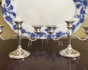 Sterling Silver Candelabras, 3 Light Sterling Silver Tapered Candlestick Holders, Mid Century Sterling Silver, Wedding Bridal Gift