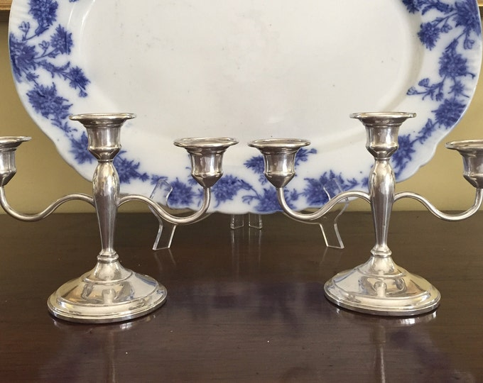Featured listing image: Sterling Silver Candelabras, 3 Light Sterling Silver Tapered Candlestick Holders, Mid Century Sterling Silver, Wedding Bridal Gift