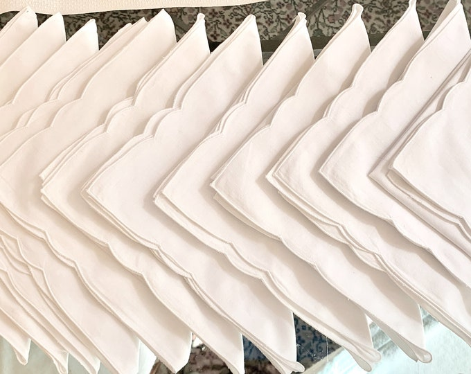 Featured listing image: 12 Embroidered Napkins, Vintage White Embroidered 15 inch Dinner Napkins, Cottage Farmhouse Table Linens,