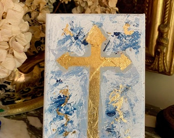 Single Gold Cross Painting, 5 x 7 Gallery Wrapped Original Contemporary Cross Art, Small Easel, Gold Metal Leaf, Religious Gift Idea