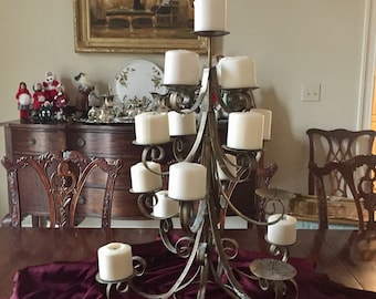 Metal Pillar Candle Christmas Tree, 16 Candles, Holiday Centerpiece, Holiday Pillar Candle Holder, Antique Gold Tone,  Holiday Decor,