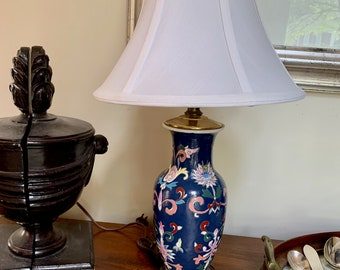 Vintage Chinoiserie Lamp with Shade, Navy Blue Asian Ginger Jar Lamp, Blue White Decor, Asian Decor, Chinoiserie Decor
