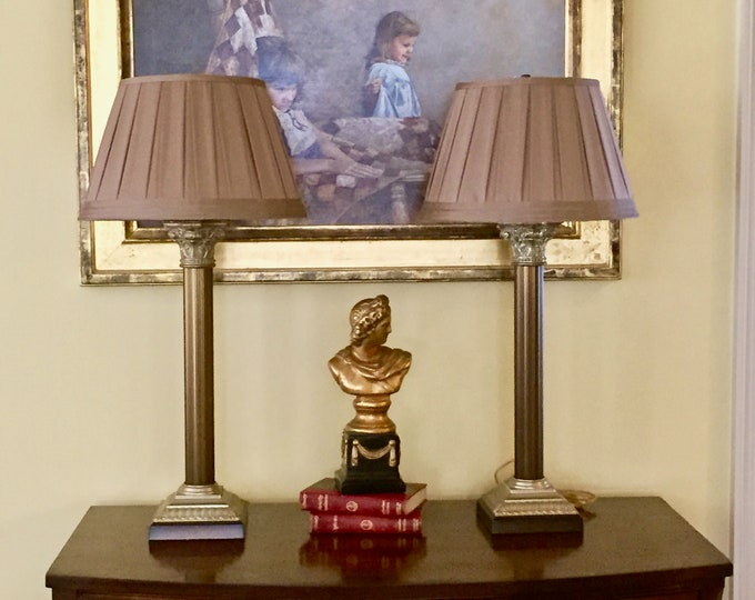 Featured listing image: Pair Baroque Style Column Lamps, Tall Metal Buffet Lamps, Silk Shades, Bronze and Gold Tones, Living Room Lamps, Bedroom Lamps
